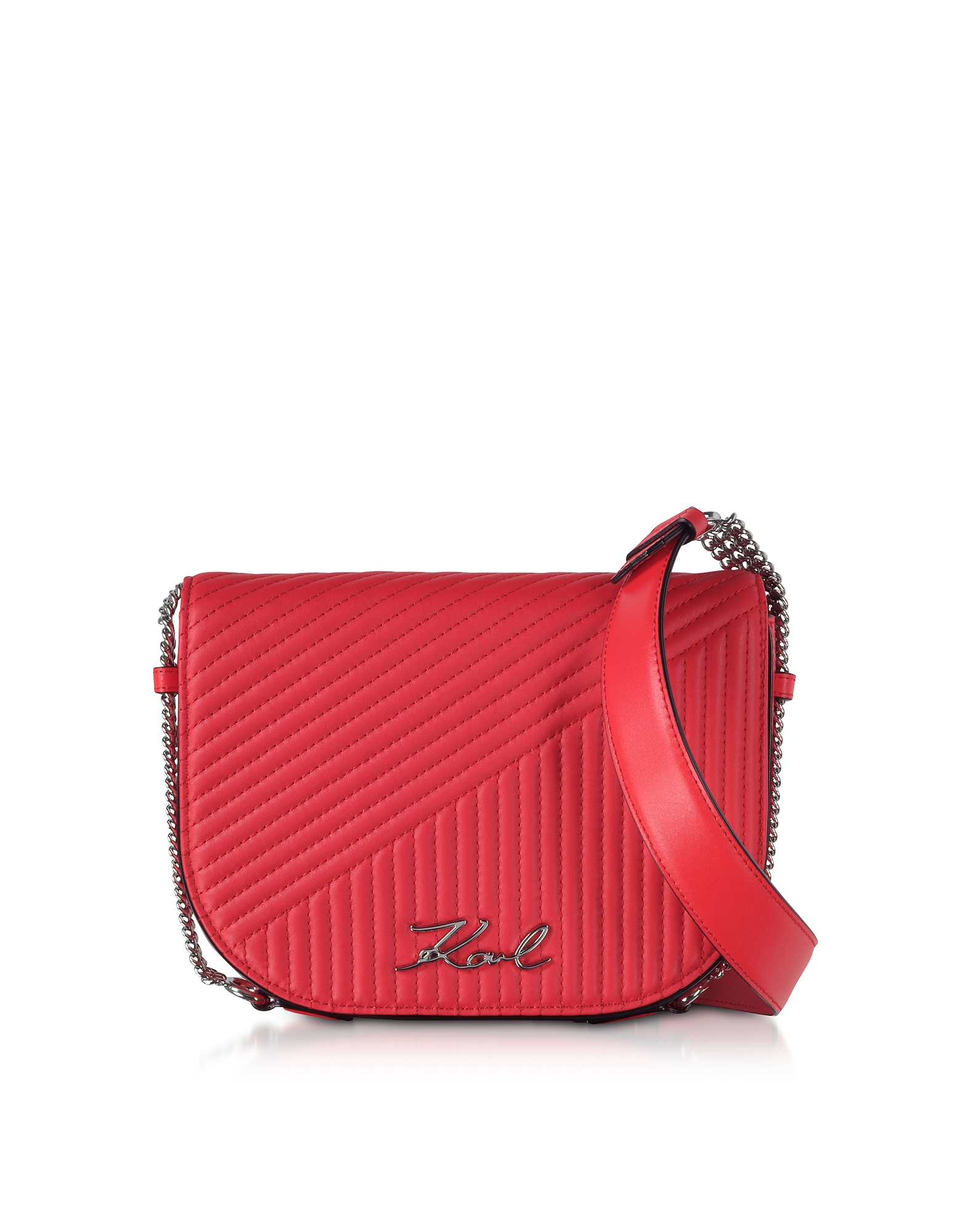 K/Signature Fire Red Quilted Leather Shoulder Bag