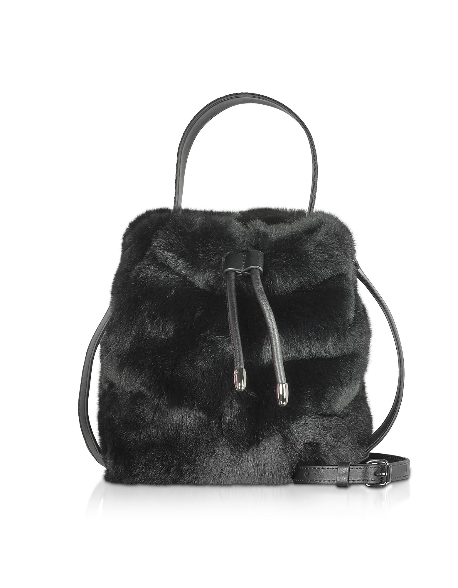 Karl Lagerfeld Designer Handbags, Carine X Karl Fur Bucket Bag
