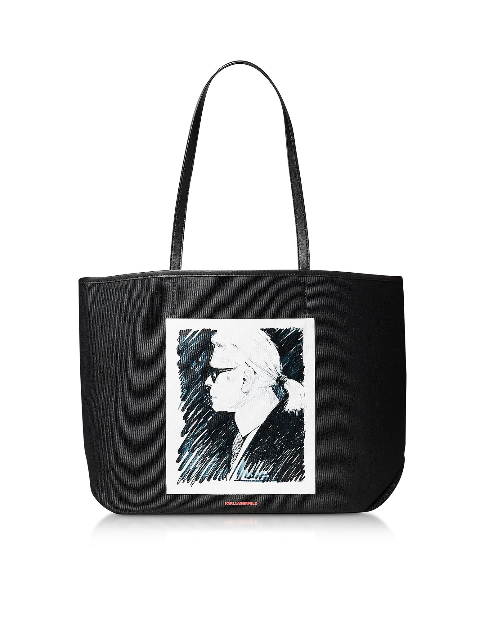 Karl Lagerfeld Designer Handbags, Karl Legend Canvas Tote