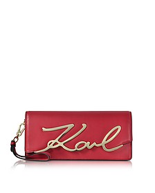 Cherry Red Leather K/Signature Clutch - Karl Lagerfeld