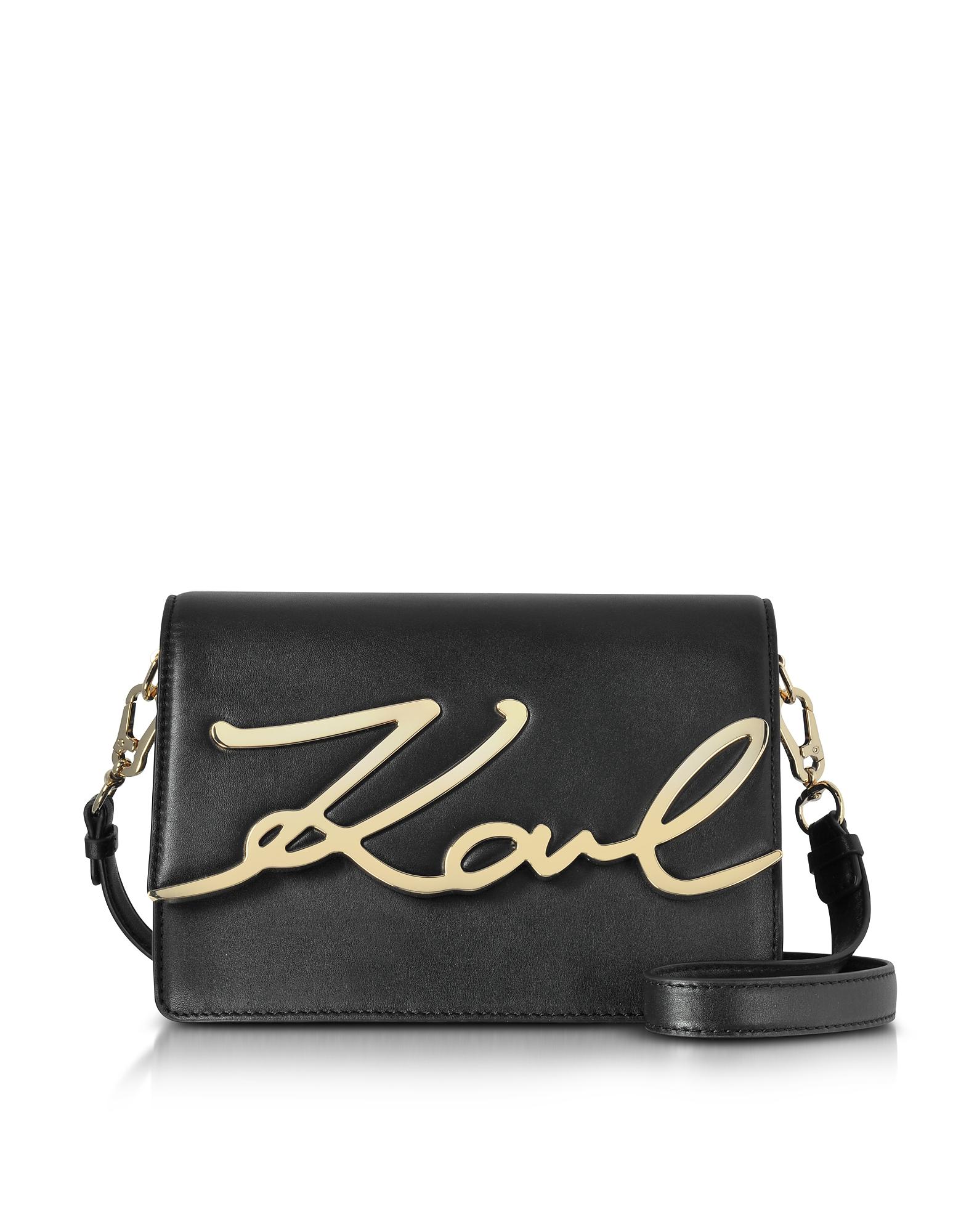 Karl Lagerfeld Designer Handbags, Black Leather K/Signature Shoulder Bag