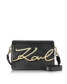 Black Leather K/Signature Shoulder Bag - Karl Lagerfeld