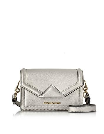 Karl Lagerfeld - Silver Saffiano Leather K/Klassic Super Mini Crossbody Bag
