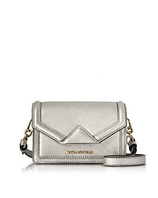Silver Saffiano Leather K/Klassic Super Mini Crossbody Bag - Karl Lagerfeld