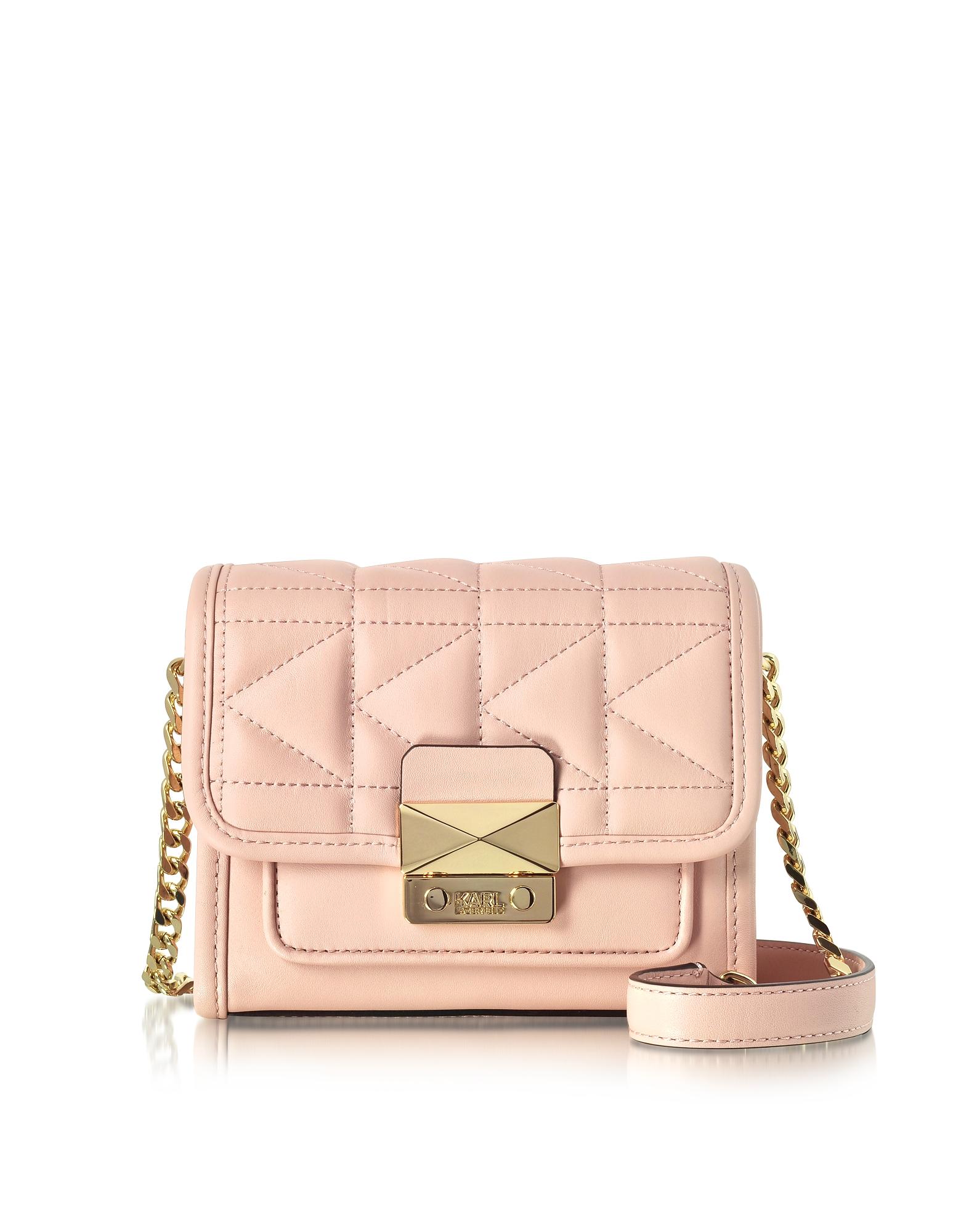 Karl Lagerfeld Handbags, Light Pink K/Kuilted Crossbody Bag