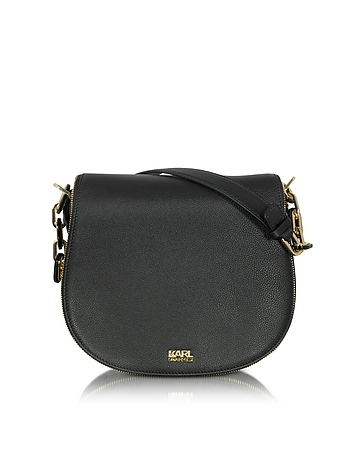 Karl Lagerfeld - K/Grainy Black Leather Satchel