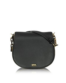 K/Grainy Black Leather Satchel - Karl Lagerfeld