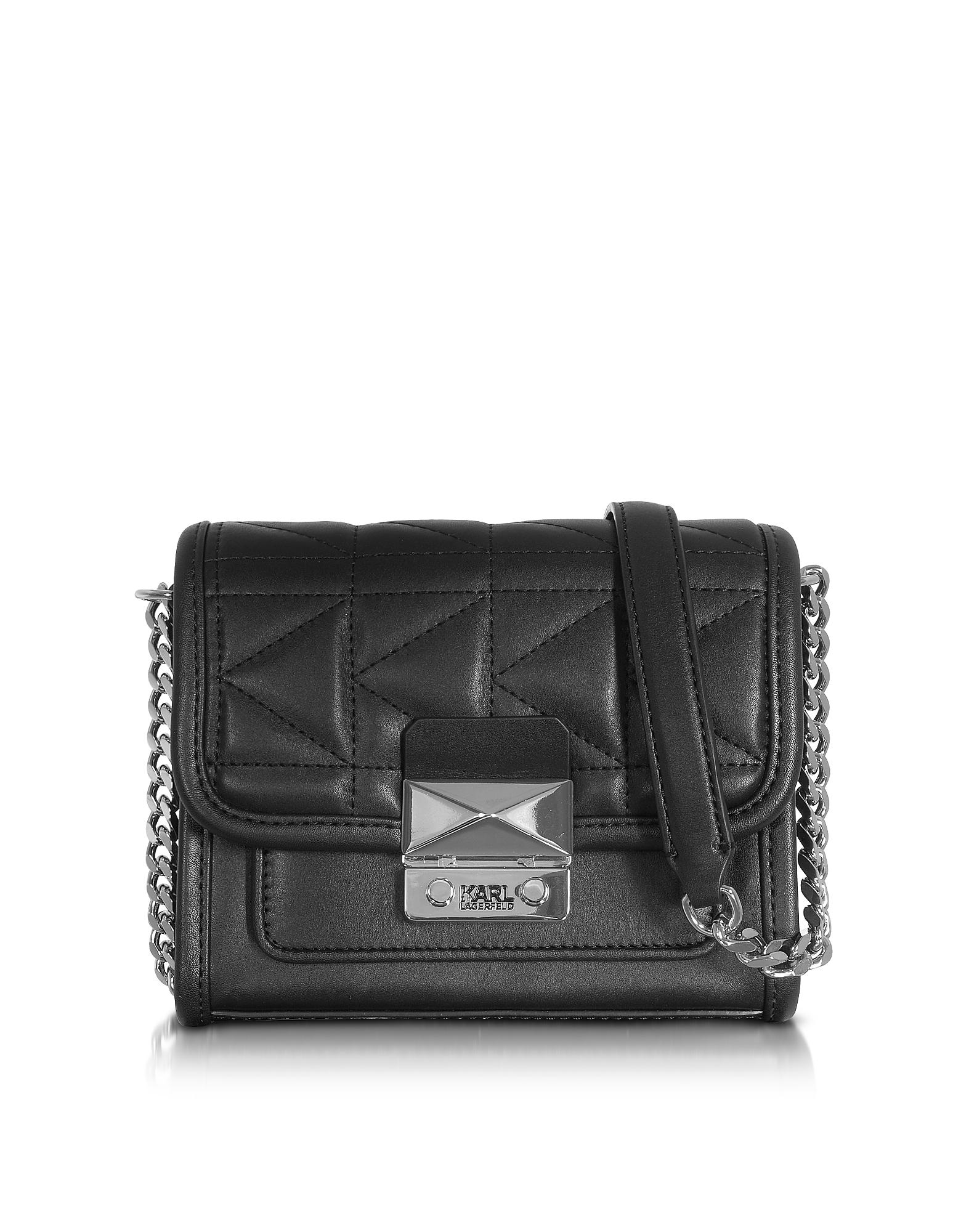 Karl Lagerfeld Handbags, K/Kuilted Black Leather Mini Crossbody Bag