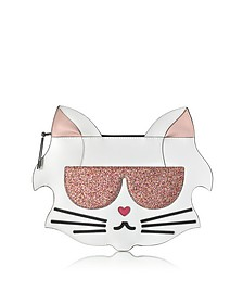 Choupette Saffiano Leather Flat Pouch - Karl Lagerfeld