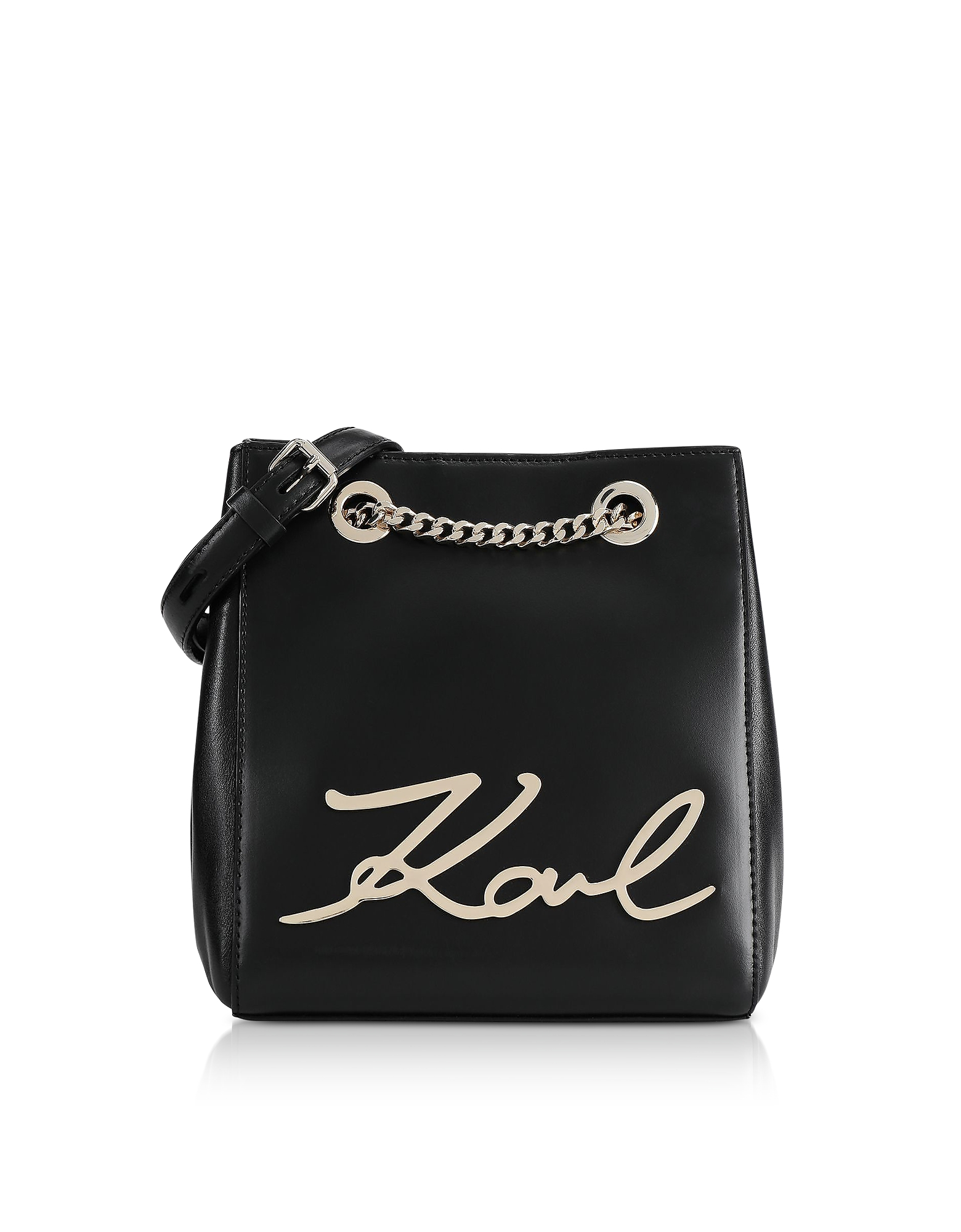 Black and Gold K/Signature Bucket Bag