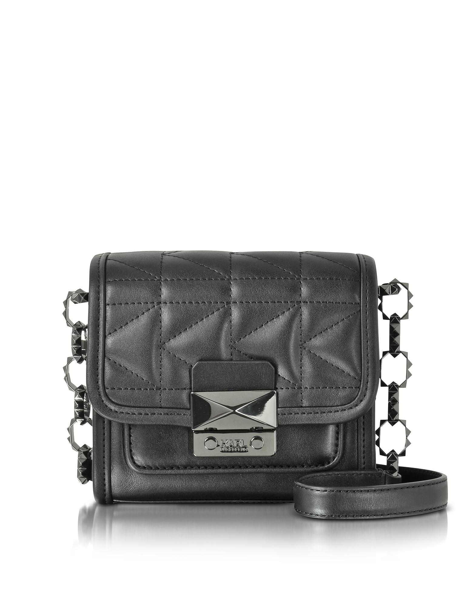 Karl Lagerfeld Черная Кожаная Сумка на Плечо