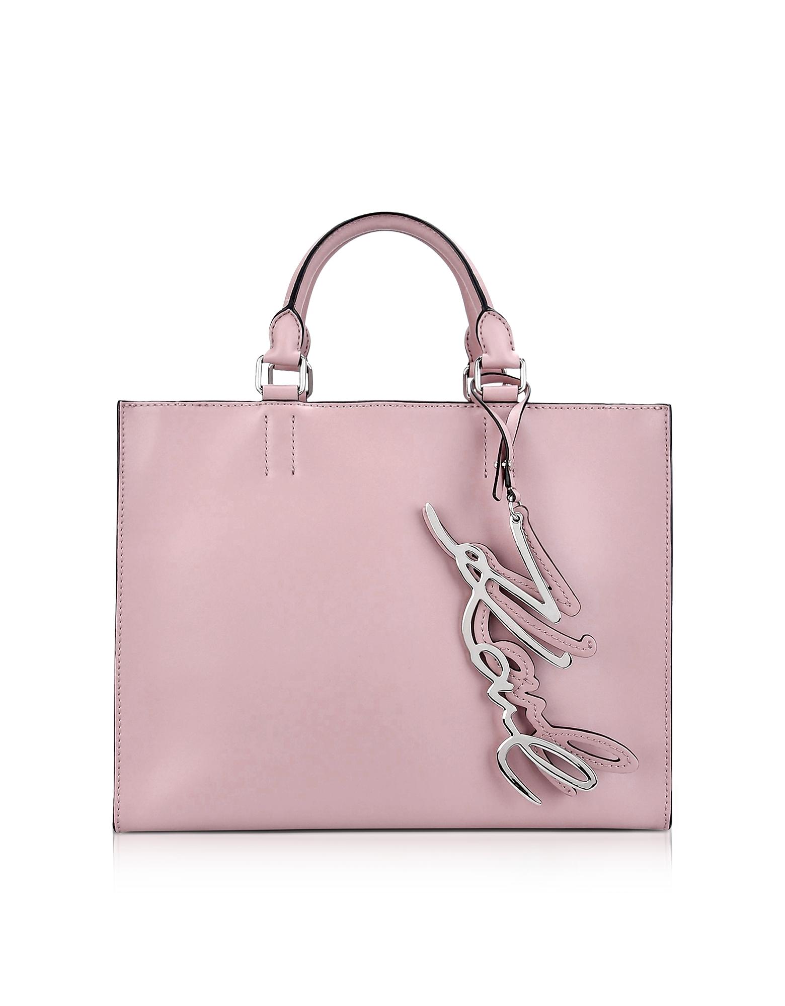 Karl Lagerfeld Handbags, K/Metal Signature Pink Ballet Leather Shopper Bag