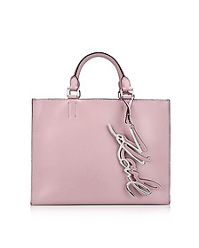K/Metal Signature Pink Ballet Leather Shopper Bag - Karl Lagerfeld