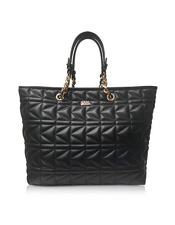 K/Kuilted Black Leather Tote Bag