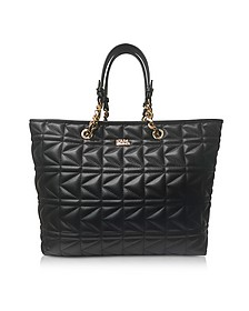 K/Kuilted Black Leather Tote Bag - Karl Lagerfeld
