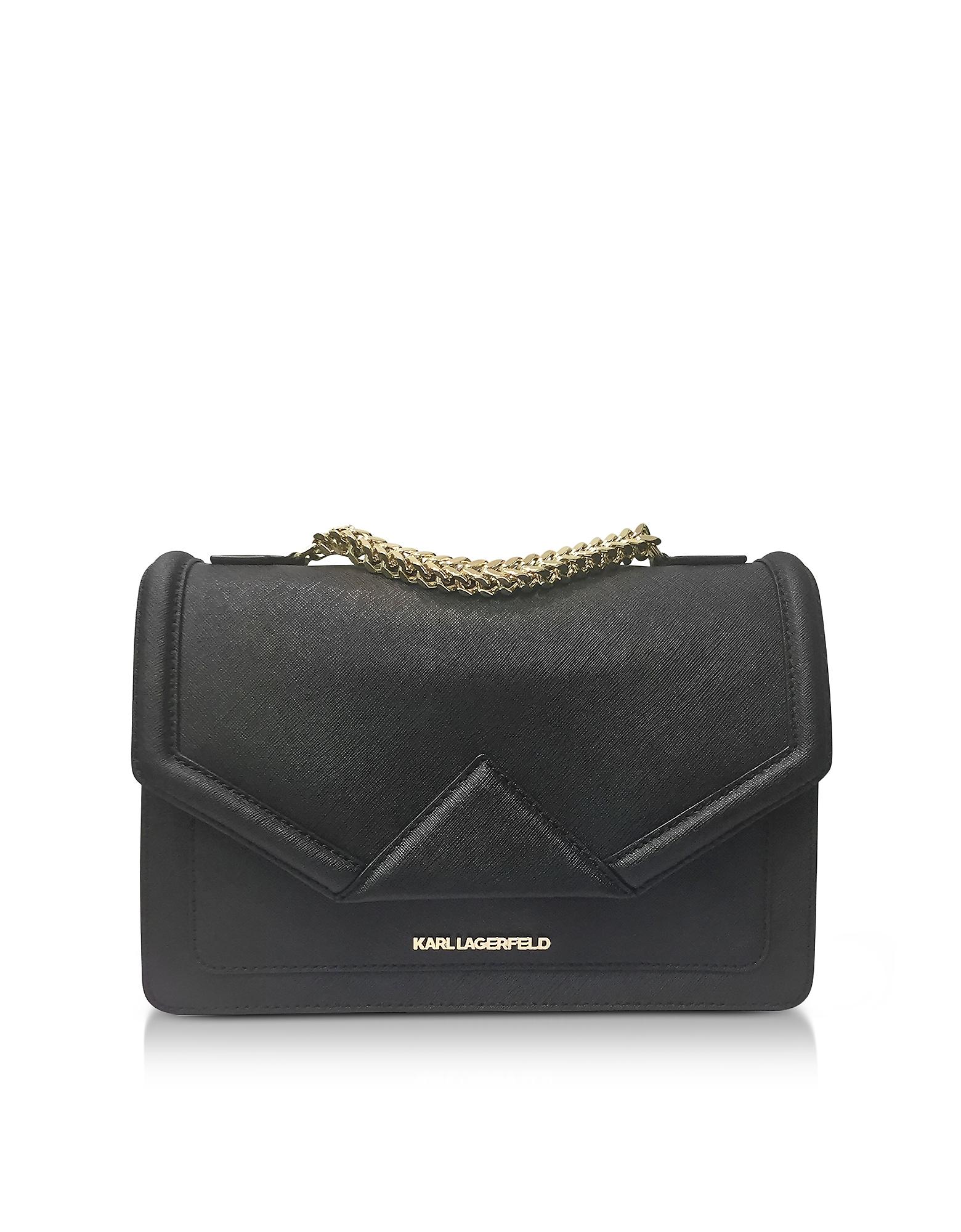Karl Lagerfeld Handbags, K/Klassik Black Leather Shoulder Bag