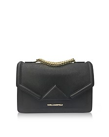 K/Klassik Black Leather Shoulder Bag - Karl Lagerfeld