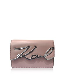 Pink Ballet Leather K/Signature Shoulder Bag - Karl Lagerfeld
