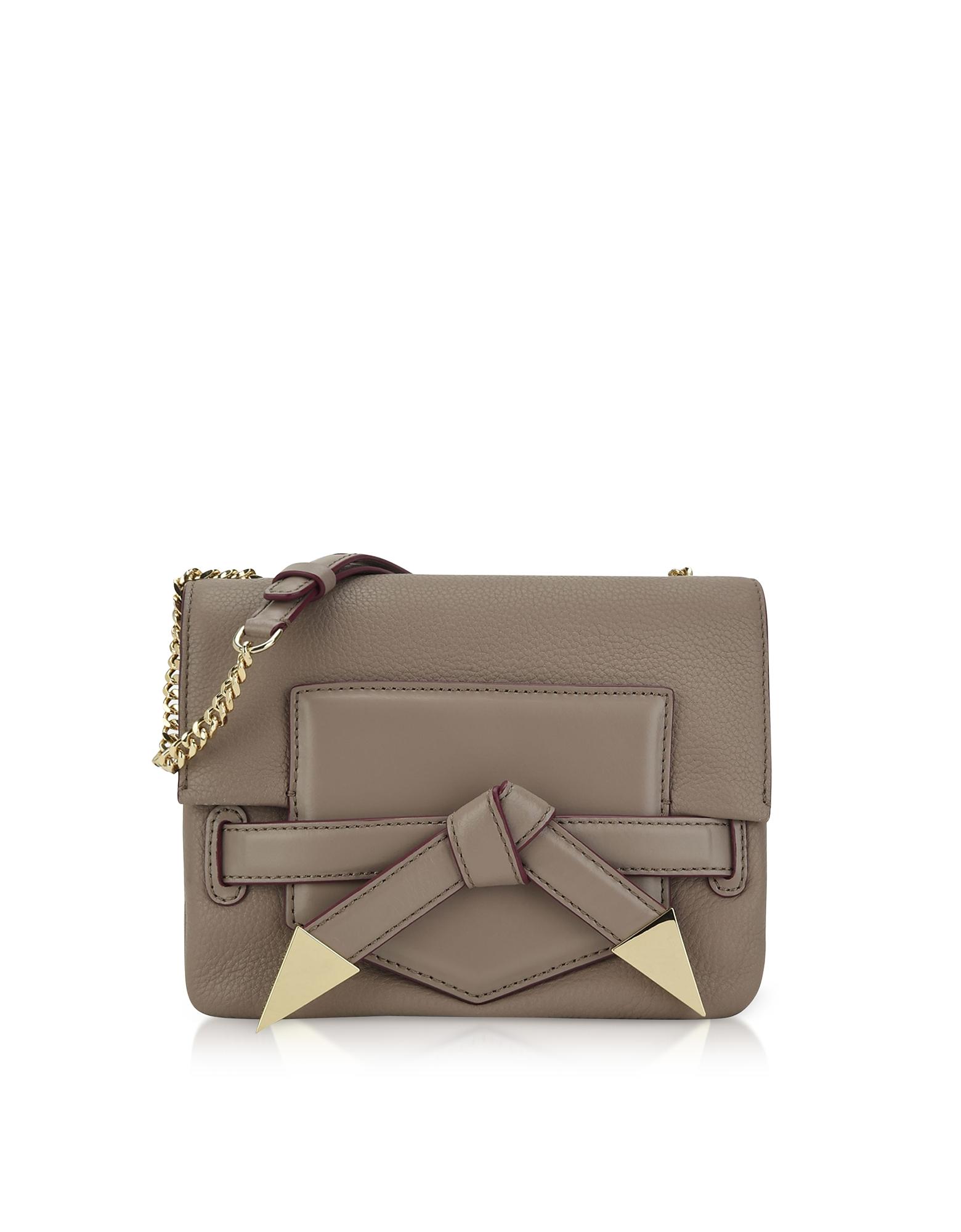 Karl Lagerfeld Handbags, Sand Stone Leather K/Rocky Bow Crossbody Bag