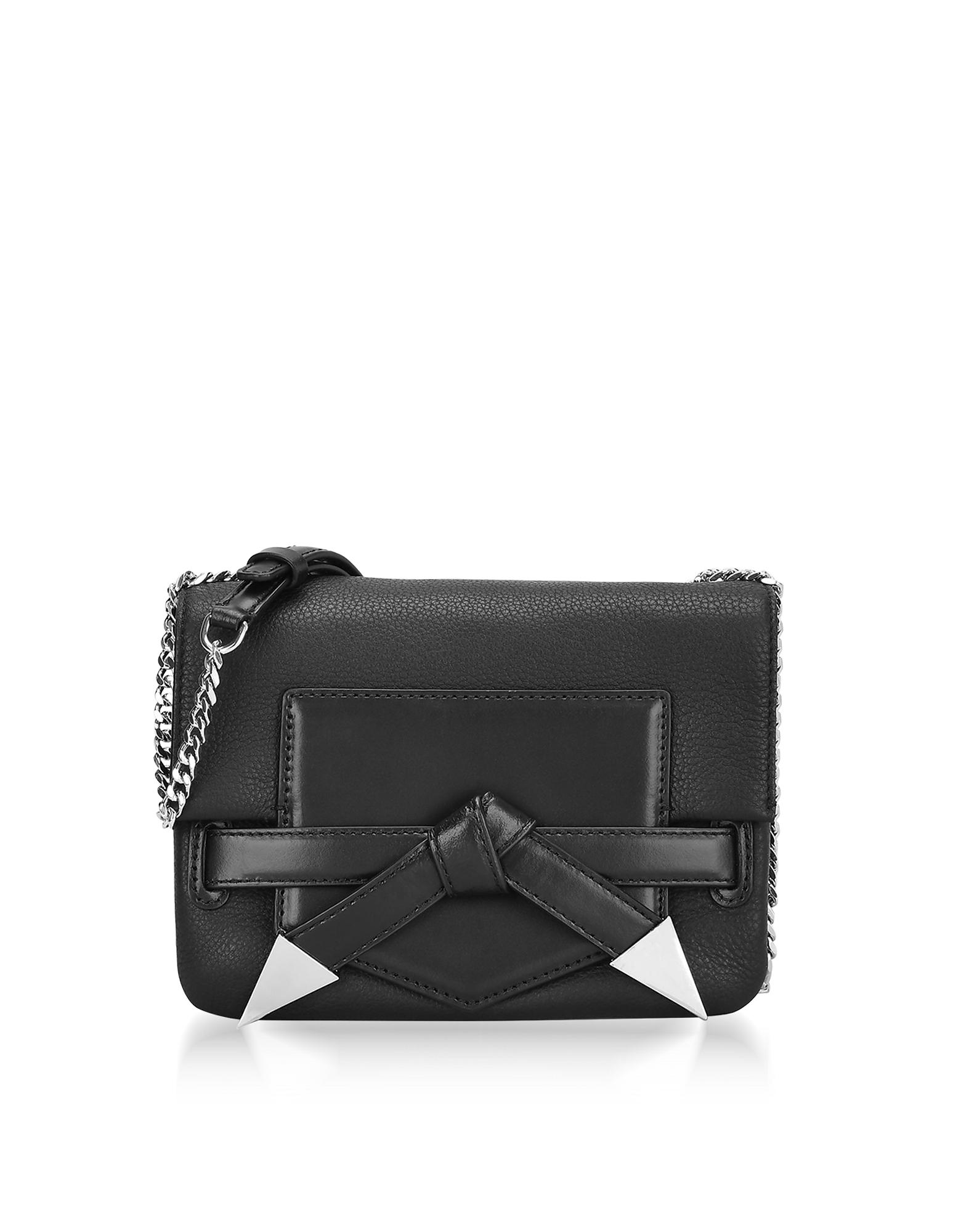 Karl Lagerfeld Handbags, Black Leather K/Rocky Bow Crossbody Bag