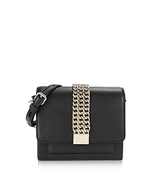 Black Leather K/Chain Closure Mini Crossbody Bag - Karl Lagerfeld