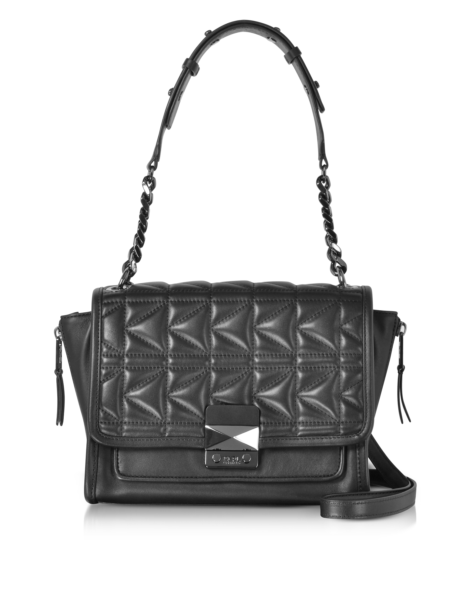 Karl Lagerfeld Handbags, K/Kuilted Black Leather Handbag