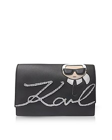 K/Ikonik Black Shoulder Bag - Karl Lagerfeld