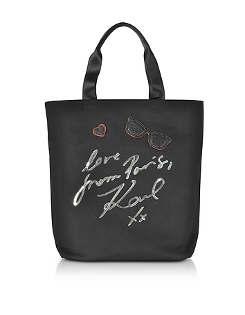 K/Paris Black Canvas Tote Bag