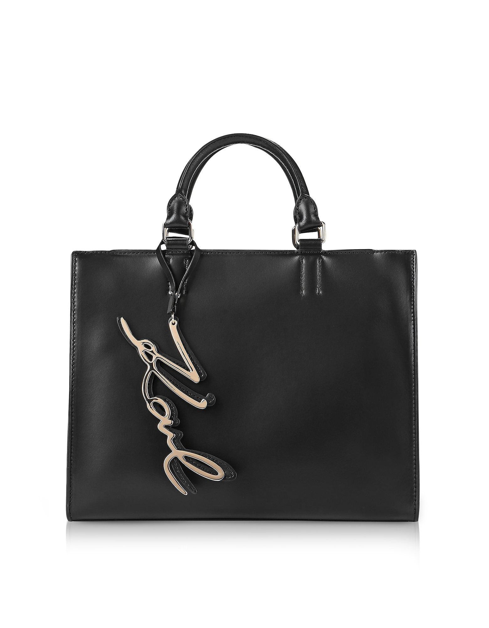 Karl Lagerfeld Handbags, K/Metal Signature Black Leather Shopper Bag
