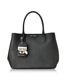 K/Shopper Black Leather Tote Bag w/Luggage Tag - Karl Lagerfeld
