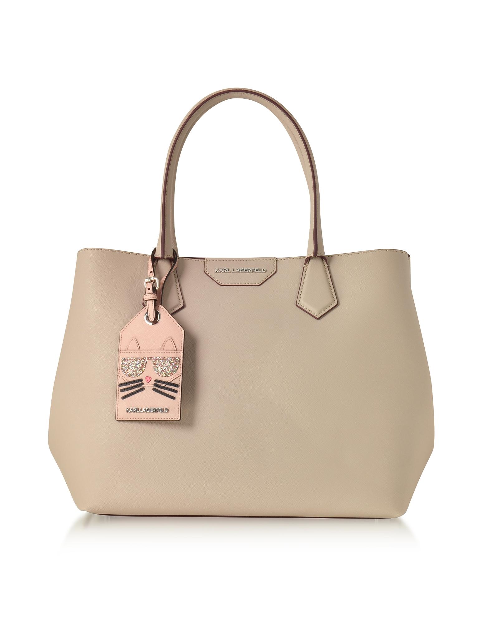 Karl Lagerfeld Handbags, K/Shopper Earth Leather Tote Bag w/Luggage Tag