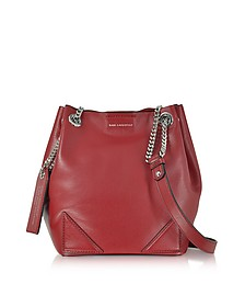 K/Slouchy Dark Pomegranates Leather Small Bucket Bag - Karl Lagerfeld