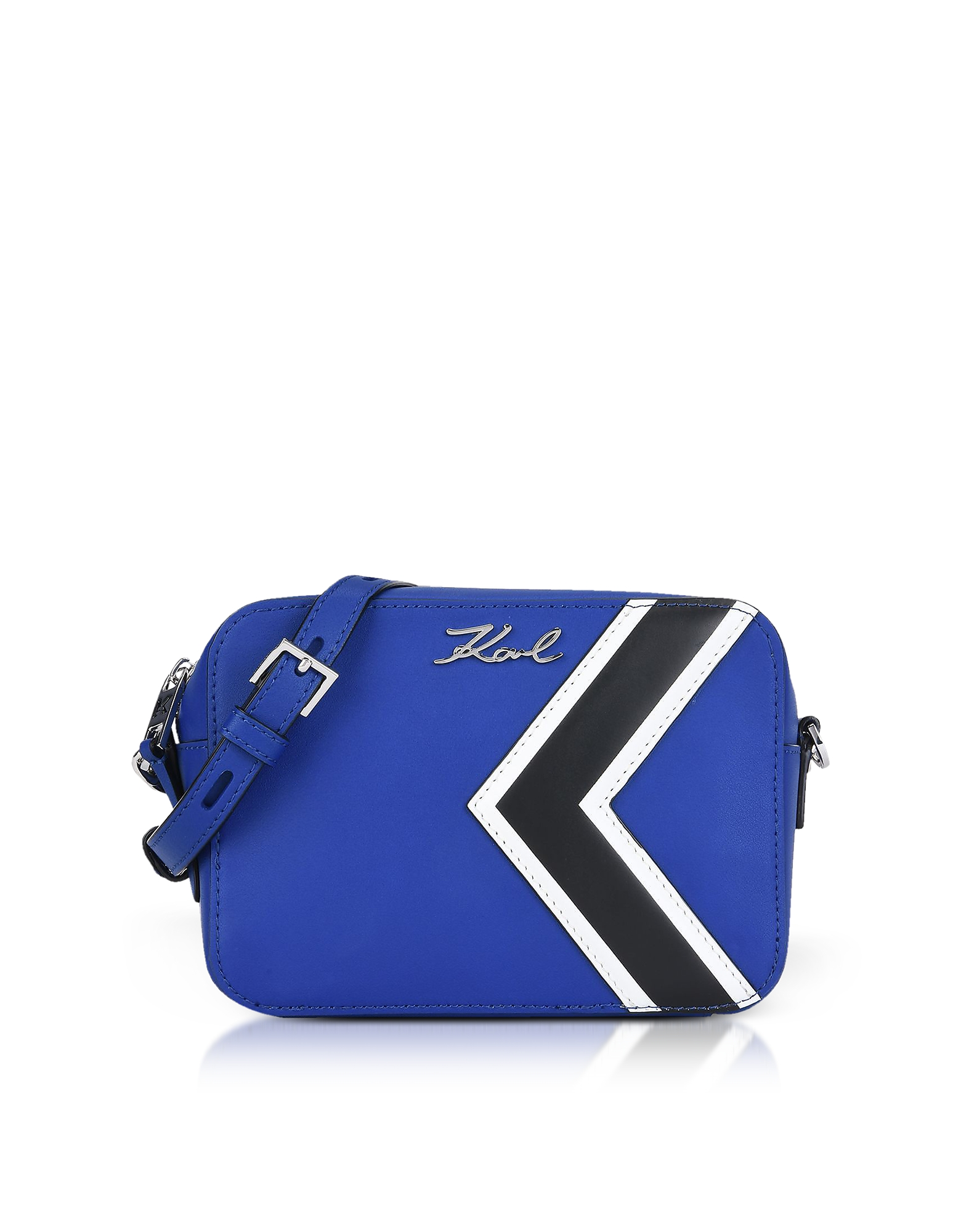 K/Stripes Camera Bag. K/Stripes Camera Bag crafted in smooth leather with signature K stripe detail, puts Karl's sport logo on the fr