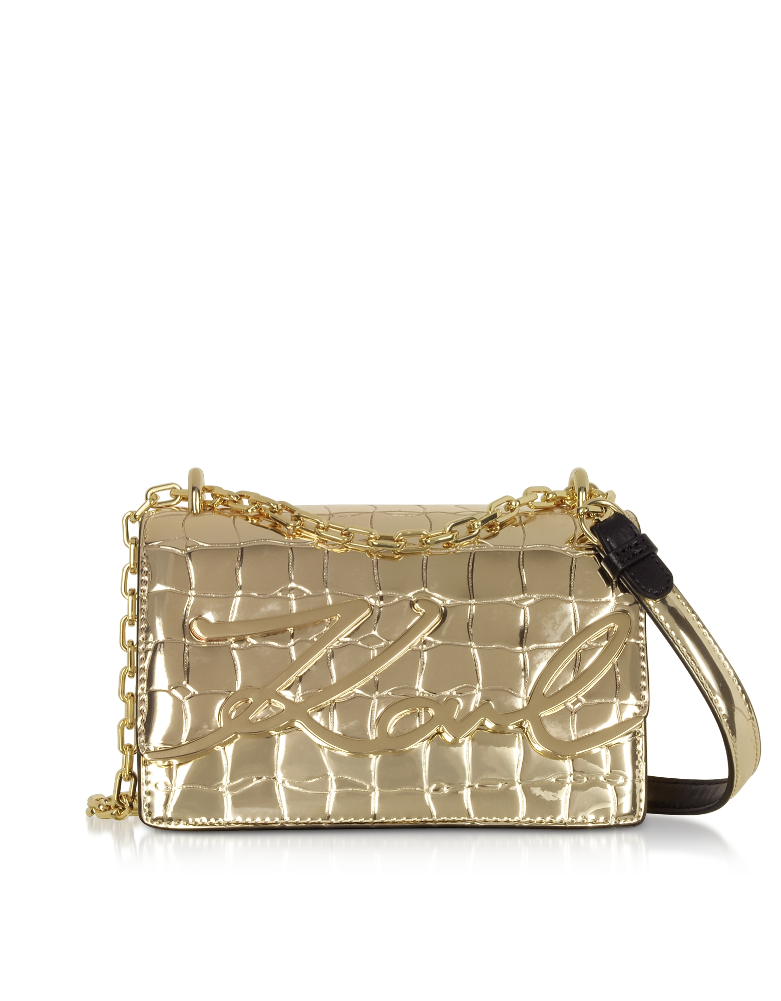 Karl Lagerfeld  Handbags K/Signature Small Croco Leather Shoulder Bag
