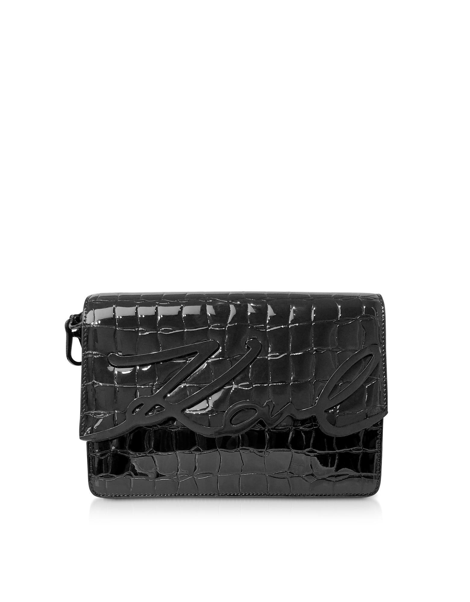 Karl Lagerfeld  Handbags K/Signature Black Croco Leather Shoulder Bag w/ Signature