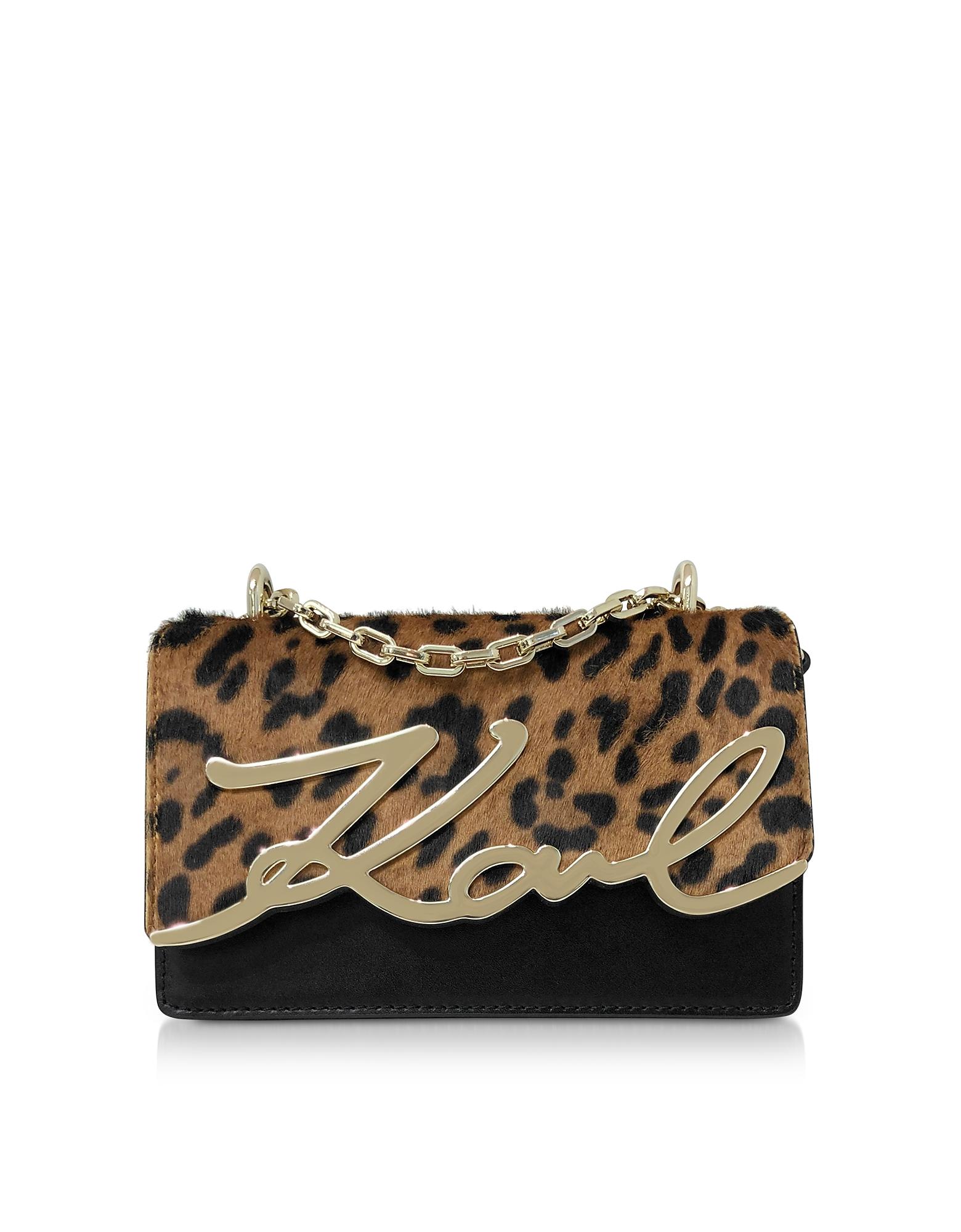 Karl Lagerfeld  Handbags K/Signature Leopard Small Shoulder Bag