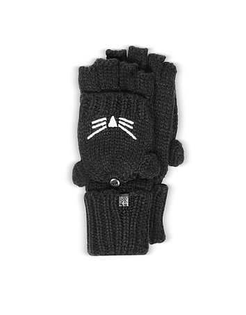 Karl Lagerfeld - Choupette Black Wool Blend Gloves