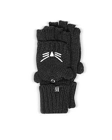Choupette Black Wool Blend Gloves - Karl Lagerfeld