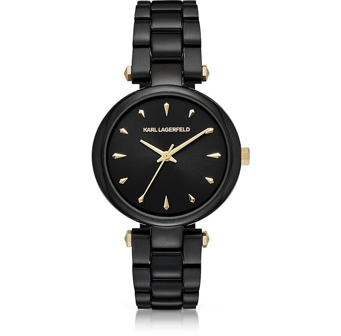 Aurelie Black Stainless Steel Women's Quartz Watch w/Signature Dial - Karl Lagerfeld