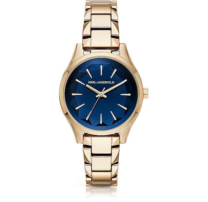 Janelle Gold-tone PVD Stainless Steel Women's Quartz Watch w/Deep Blue Dial - Karl Lagerfeld