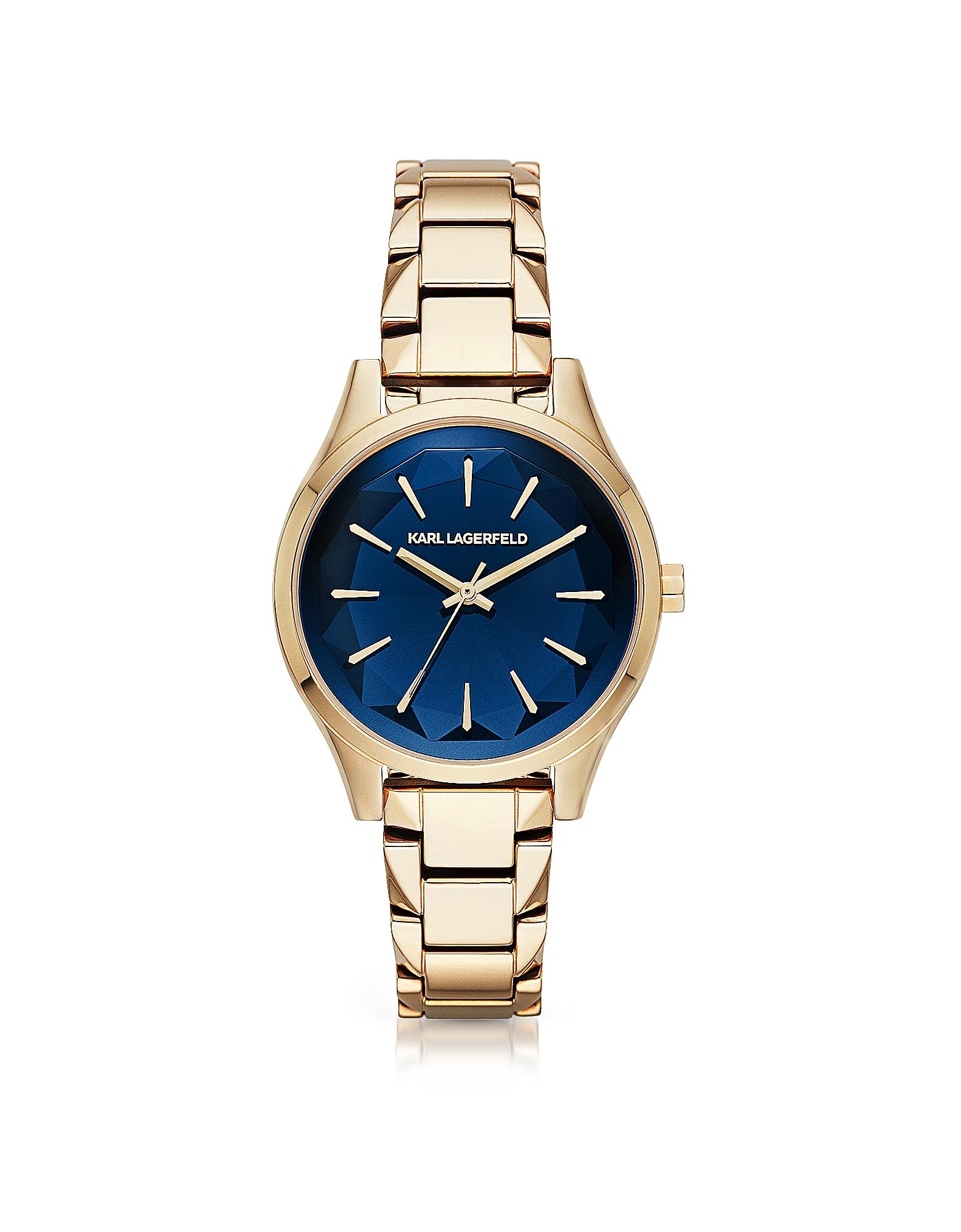 Karl Lagerfeld Women's Watches, Janelle Gold-tone PVD Stainless Steel Women's Quartz Watch w/Deep Bl