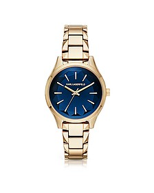 Janelle Gold-tone PVD Stainless Steel Women's Quartz Watch w/Deep Blue Dial - Karl Lagerfeld
