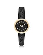 Karl Lagerfeld Belleville Gold-tone PVD Stainless Steel Women's Quartz Watch w/Black Leather Strap kl270017-011-00