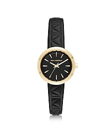Janelle Gold-tone PVD Stainless Steel Women's Quartz Watch w/Black Leather Strap - Karl Lagerfeld