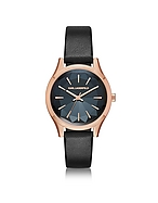 Karl Lagerfeld Belleville Rose Gold-tone PVD Stainless Steel Women's Quartz Watch w/Black Leather Strap kl270017-012-00
