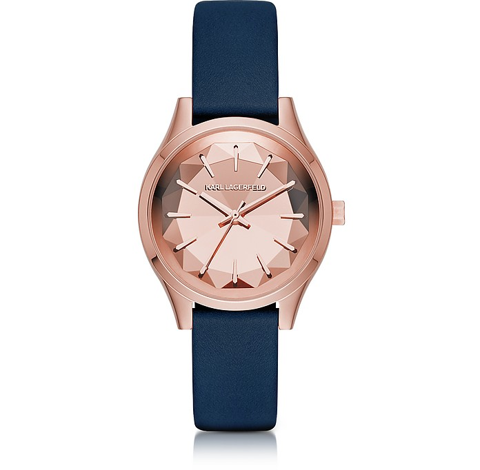 Janelle Rose Gold-tone PVD Stainless Steel Women's Quartz Watch w/Blue Leather Strap - Karl Lagerfeld