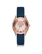 Karl Lagerfeld Belleville Rose Gold-tone PVD Stainless Steel Women's Quartz Watch w/Blue Leather Strap kl270017-013-00