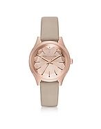 Karl Lagerfeld Belleville Rose Gold-tone PVD Stainless Steel Women's Quartz Watch w/Dove Leather Strap kl270017-014-00
