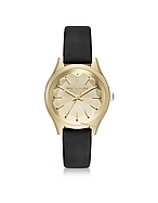 Karl Lagerfeld Belleville Gold-tone PVD Stainless Steel Women's Quartz Watch w/Black Leather Strap kl270017-015-00