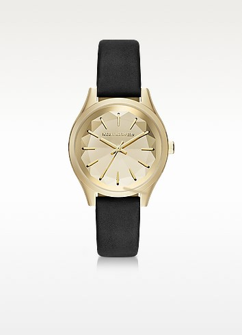 Janelle Gold-tone PVD Stainless Steel Women's Quartz Watch w/Black Leather Strap - Karl Lagerfeld